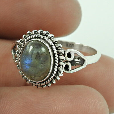 Gemstone Ring With Labradorite 925 Silver Vintage Ring For Women Us Size 8.5