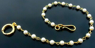 Indian Gold Tone Pierced Nose Ring White Pearl Traditional Nath Bridal Jewelry