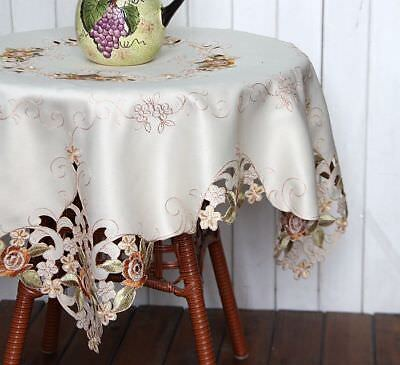 Last Piece @ Beautiful Orange Rose Embroidery Cutwork Square Ivory Table Cloth B