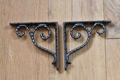 Pair Of Arts And Crafts Hammered Cast Iron Shelf Brackets Shelving Shelves