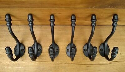"6 X 5"" Cast iron coat hooks with acorn finials, vintage style in satin black."