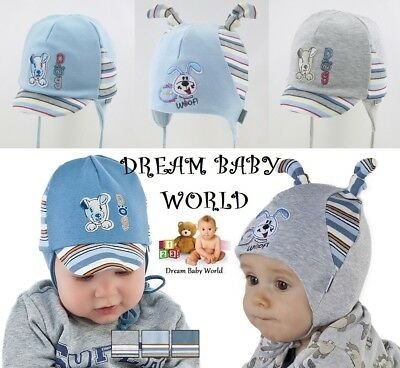 RICH Cotton boys hat spring 0-18 months TIE UP Infant KIDS BABY BOY New CAP HATS