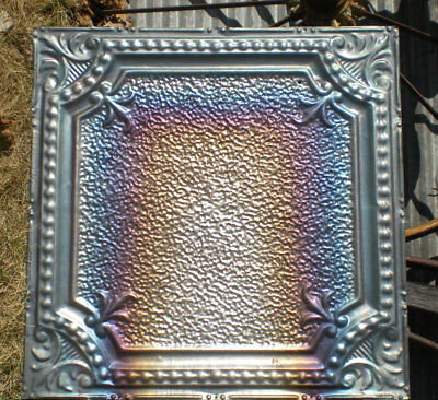 1890s Antique Iridescent Victorian Ceiling Tin Tile Carnival Fleur De Li Chic
