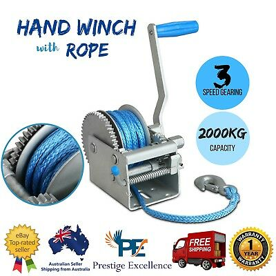 3 SPEED Boat Hand Winch Synthetic Rope CAR BOAT TRAILER 4WD With Rope 2000KG New