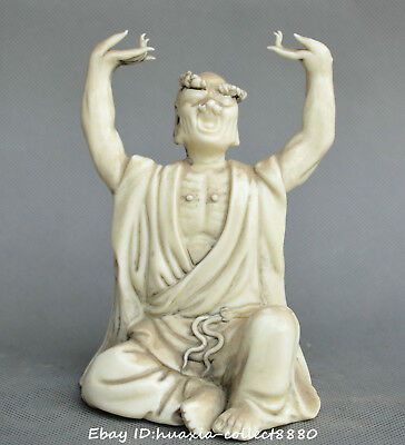 Collect China old Porcelain carve Buddhism Probe one's hand arhat Buddha statue