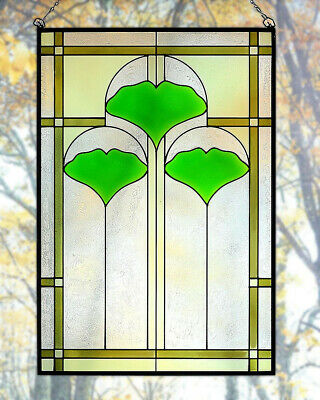 """Arts and Crafts Ginkgo Stained Glass Panel 20.5"""" x 14"""" - Hand Crafted in the USA"""