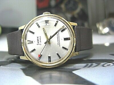 Swank Swiss Made Euro Style Vintage Men Watch 17 Jewel Automatic Date