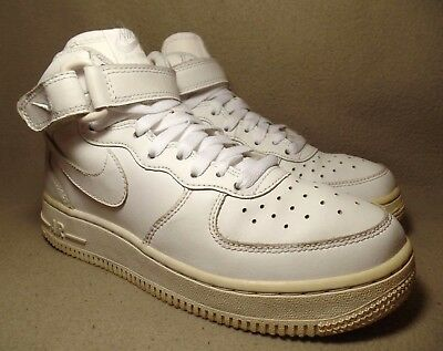 huge discount 49785 af97a NIKE AIR FORCE 1 MID GS Junior All White Leather Hi-Top Trainers UK 3