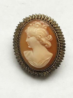 Antique 10K Gold Gramed victorian Carved Cameo Brooch Pin Pendant