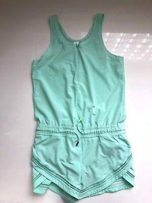 Ivivva by Lululemon Run Day Fun Day Runsie Romper Mesh Detail Sea Mist Green 12
