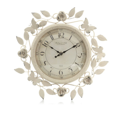 Vintage Wall Clock Shabby Chic Floralcottage French Country Antique Trend Style