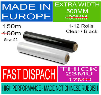 PALLET WRAP Clear & Black Stretch Shrink Film-All Quality-Strong Heavy Duty Best