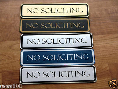 Engraved No Soliciting Sign Front door signs Laser