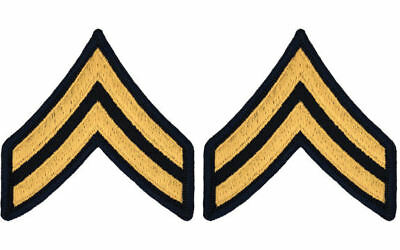 Men's U.S. Army Chevrons CPL E4 Corporal NEW GOLD on BLUE- PAIR