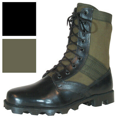 "Vietnam Jungle Boots, 8"" Leather / Canvas, Panama Sole, Military Army Tactical"