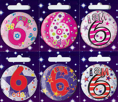 Age 6 6th Birthday Badge Boy Girl Small Badge Childrens Party Gift Present