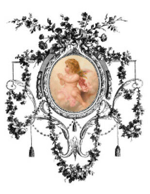 Vintage Image Angels Ornate Frame Furniture Transfers Waterslide Decals ANG047