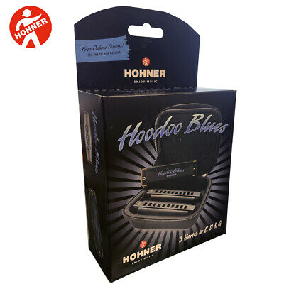 NEW Hohner Hoodoo Blues Harmonica 3-Pack with Case C,D,G