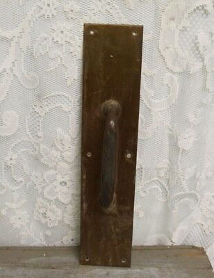"Salvaged Antique Brass School Church Door Pull Handle Back Plate 16"" X 3 1/2"""