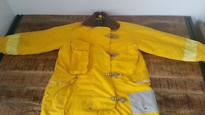 Men's Vtg Yellow Clarey's Turnout Gear Firefighter Safety Bunker Jacket Coat 42