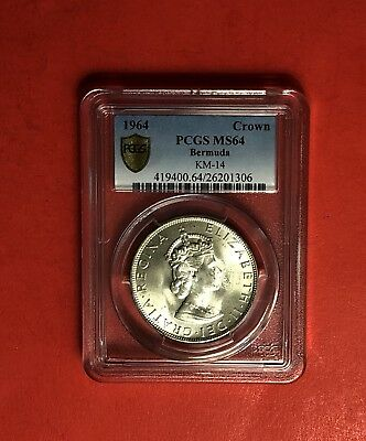 Bermuda-Uncirculated 1964 One Crown Silver Coin ,certified By Pcgs Ms64.
