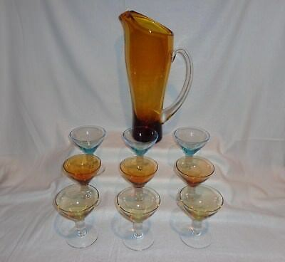 Glass MCM Cocktail Amber Pitcher & 9 Colored Glasses Set