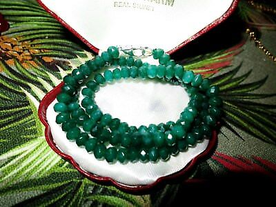 """Lovely faceted 6mm raw natural Emerald necklace 18"""""""