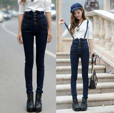New Womens Girls Overall Slim Jean Pants Suspender Jumper Skinny Long Trousers