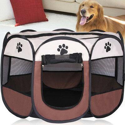 Collapsible Pet Dog Cat Playpen Tent Portable Exercise Fence Kennel Cage Crate