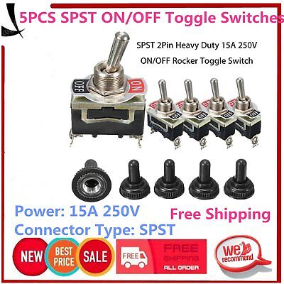 5Pcs SPST 2Pin Car Boat 15A 250V ON/OFF Rocker Toggle Switch + Waterproof Boot&N
