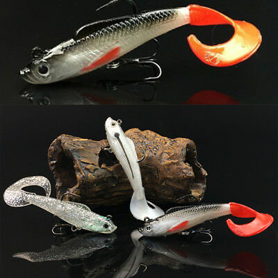 Top 8.5cm Soft Silicone Bait Fish Lures Bass Fishing Tackle With 2 Sharp Hooks