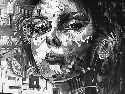 "36""  Urban Street art canvas  Australia face girl abstract painting print"
