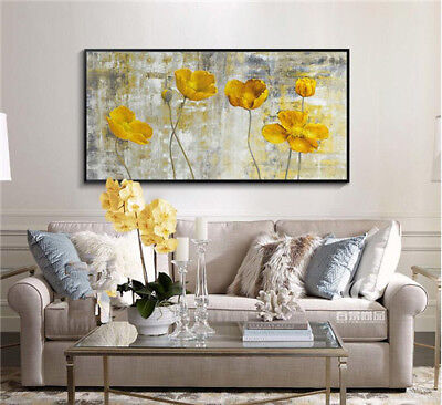 VV35 Modern Home deco Hand-painted Flower oil painting Color art No Frame 48""