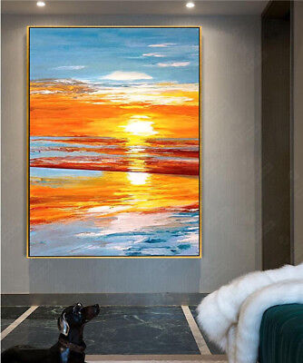 VV036 Modern art deco Hand-painted Scenery oil painting Sunrise No Frame 36in