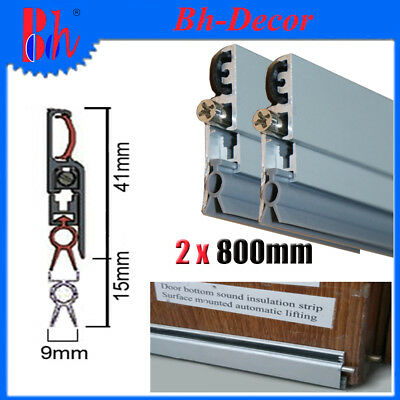 2PCS 800mm Automatic Door Bottom Seals Aluminum Weather Strips Draught Excluders