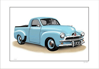 Fj  Holden  Ute  Limited Edition Car Drawing  Print   (  6 Car Colours)