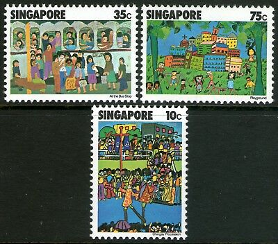 Singapore 1977 Children's Art set of 3 Mint Unhinged