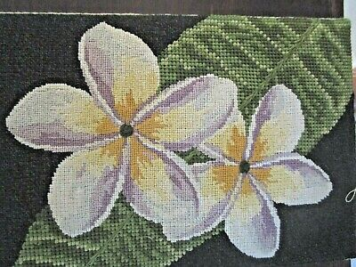 Tapestry Petit Point Flowers Professionally Worked And Framed Completed