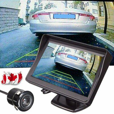 "4.3"" LCD Car Rear View Backup Monitor + Rear Reverse Parking Camera Kit Set CA"
