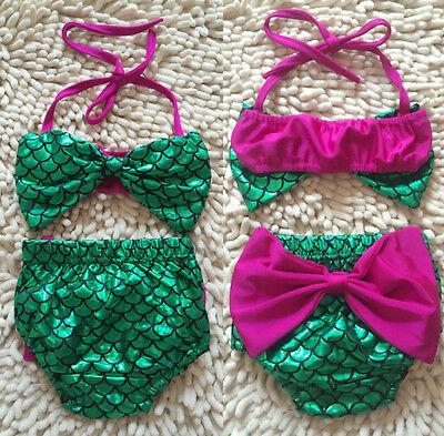 US Stock Toddler Baby Girls Mermaid Bowknot Bikini Set Swimwear Bathing Swimsuit