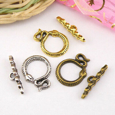 4Sets Tibetan Silver,Antiqued Gold,Bronze Snake Connectors Toggle Clasps M1419