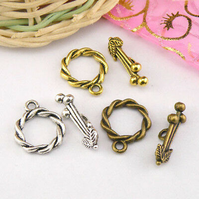 5Sets Tibetan Silver,Gold,Bronze Twist Circle Connectors Toggle Clasps M1415