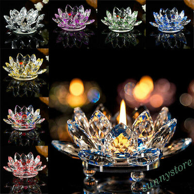 Colorful Crystal Glass Candlestick Lotus Candle Tea Light Holder Table Decor