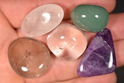 5 QUARTZ TUMBLED STONES 51g Clear, Rose, Amethyst, Green, Smokey