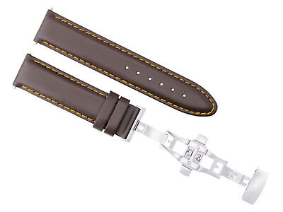 22Mm Leather Band Strap Smooth Deployment Clasp For Panerai Luminor D/brown Os#2