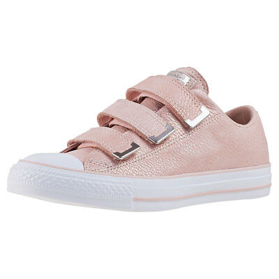 3280a341320c54 Converse Chuck Taylor All Star 3v Ox Womens Blush Pink Leather Trainers