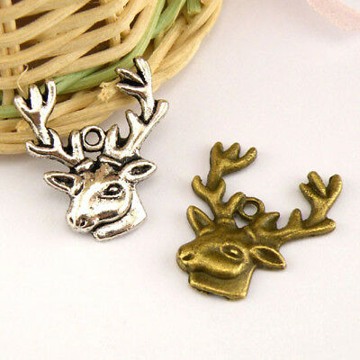 10 x Tibetan Silver STAG DEER REINDEER CHRISTMAS 3D 25mm Charms Pendants Beads