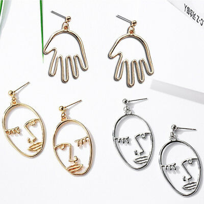 Hollow Human Face Cutout Dangle Drop Earrings Art Deco Abstract Stud Ear