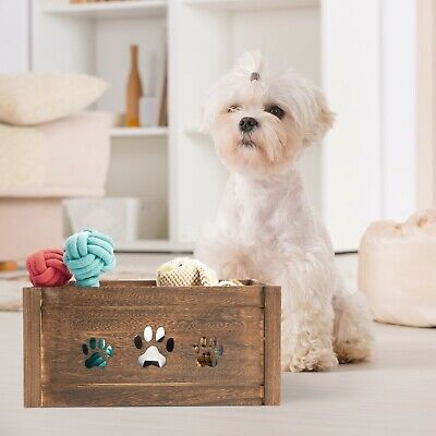 Paw Shaped Dog Toys Chest Storage Collection Box Wooden Crates Gift Hampers