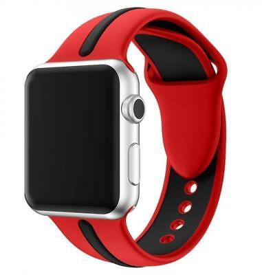 LEEHUR Apple Watch Bracelet, 42mm Band Silicone Souple Sport Strap pour...